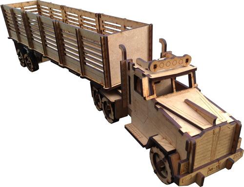 Rompecabezas 3d Tractomula+carrocería Caja+piezas+manual Mdf