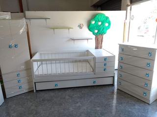 Combo Juego Dormitorio Bebé Cuna Funcional Ropero Chifonier