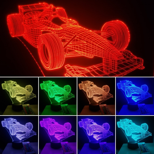 Imagen 1 de 8 de Lampara Led 3d Con Control Carro De Carreras