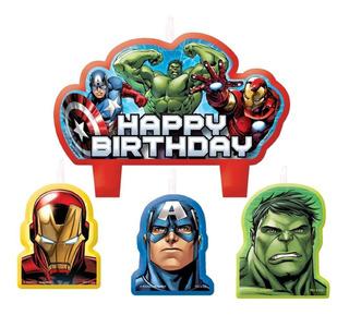Velas X 4 De Cumpleaños Avengers A1054
