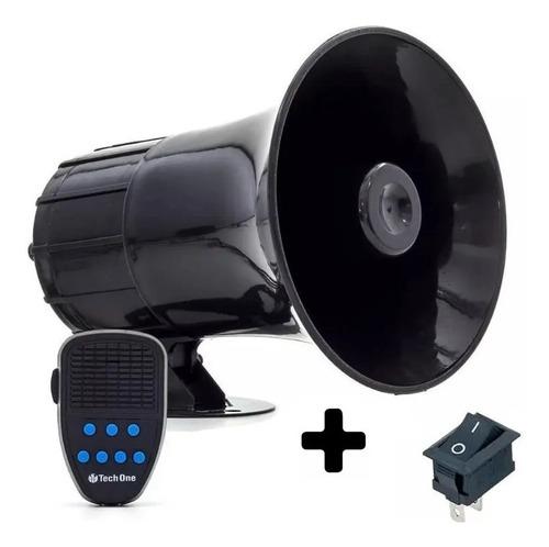 Sirene Policia Techone Tipo Rontan Megafone 7 Tons Alarme