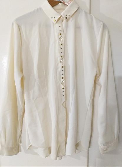 Blusa Camisa Mujer Apliques De Tachas M Impecable