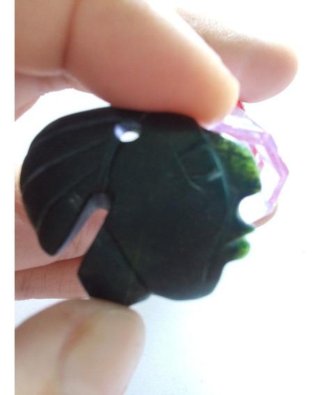 Carita Maya En Jade Verde Traslúcido