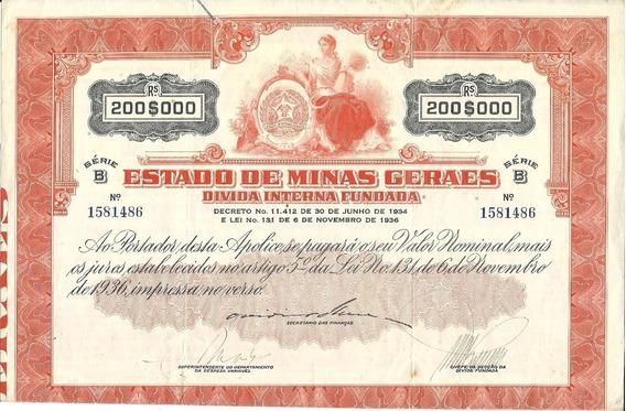 Apólice Divida Interna Est. Minas Gerais 1936 Ser. B 17 Cp