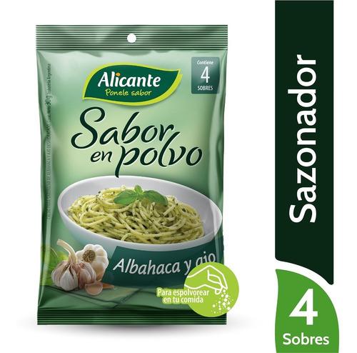 Alicante Sabor En Polvo Sazonador Albahaca Y Ajo X 4 Sobres