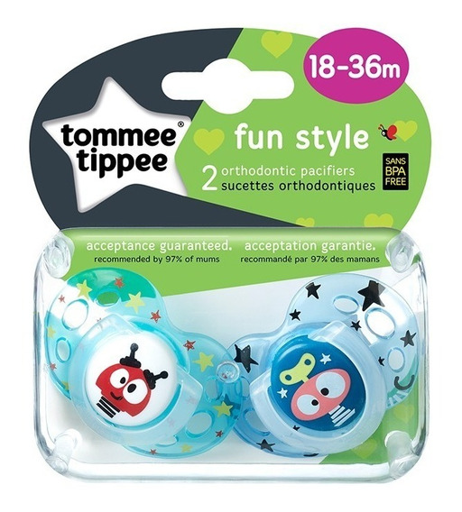 Chupete Tommee Tippee Silicona Fun Style 18-36m X2 Unidades