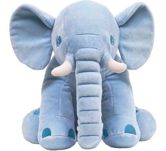 Elefantinho Gigante Almofada Pelucia Azul Antialergico Buba.