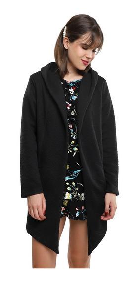 Abrigo Texturizado Mujer Con Capucha, Solapa Color Negro Lob