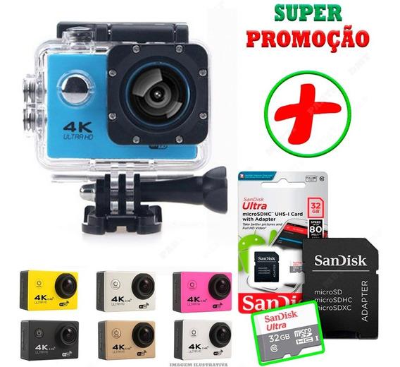 Câmera Sport Ação Filmadora Wifi 4k Sd Card 32 Moto Controle
