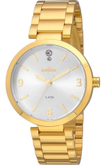 Kit Relógio Feminino Condor Dourado Com Colar E Brincos
