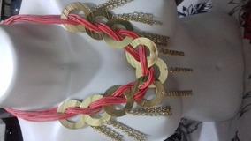 Maxi Colar Grande Dourado Rosa Cordão Aros E Pingentes
