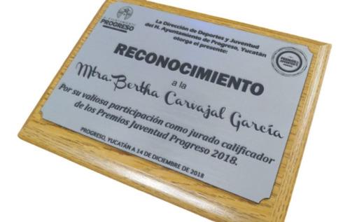 Imagen 1 de 5 de Diploma Reconocimiento Con Grabado Láser (chico)