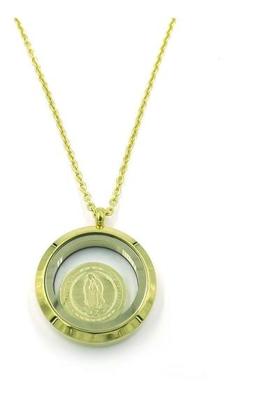 Collar Acero Dorado Relicario Cristal Virgen De Guadalupe