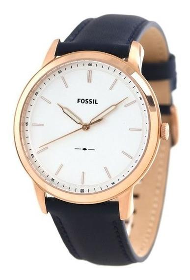 Reloj Fossil De Hombre Fs5371 Azul/oro Rosado Piel Genuina
