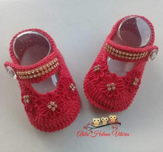 Sapatinho Em Crochê P/bebe Vermelho