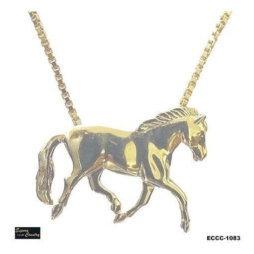 Colar Cavalo Inteiro - Eccc-1083 Espora Country Banhado Ouro