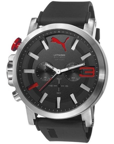 Relógio Puma Ultrasize Preto Com Vermelho Crono