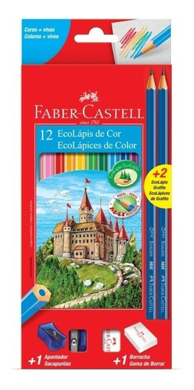 Caixa Faber Castell 12 Cores C/ 1 Apontador E 1 Borracha.
