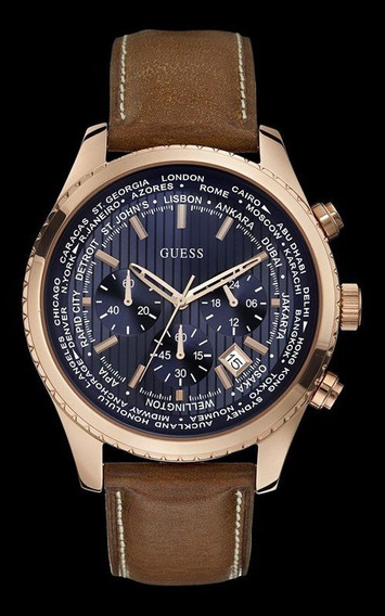 Relógio Guess Masculino Couro Fundo Azul 92544gpgdrc1