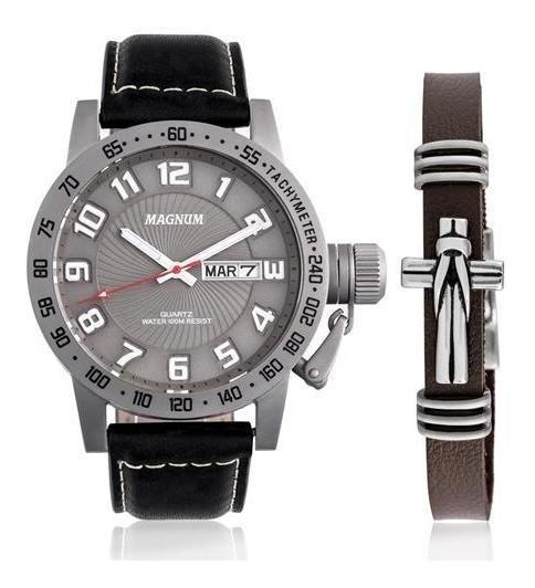 Relógio Magnum Masculino Kit Pulseira Couro Ma33139x