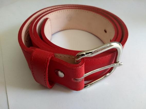 Cinturon Beisbol Rojo Varias Tallas 28 A 42 Piel Cinto