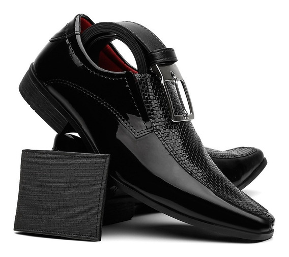 Sapato Social Masculino Em Verniz Acompanha Carteira + Cinto
