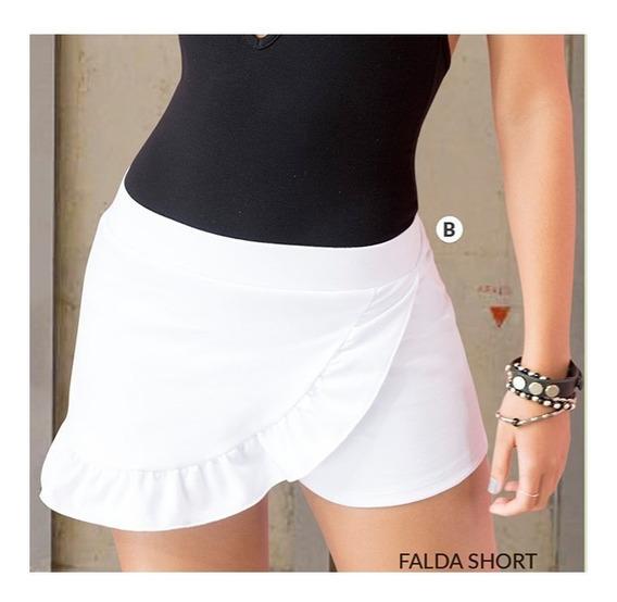 Falda Pantalon Con Bolero Short Juvenil Blanco Corto