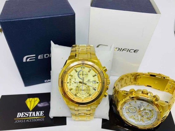 Relógio Dourado Casio Edifice - Brinde Pulseira 7mm 18k