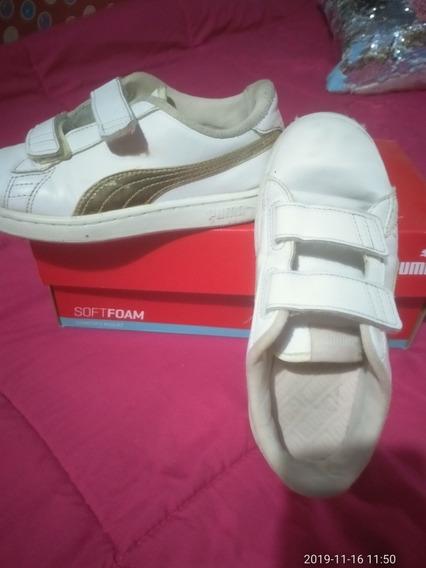 Zapatillas Puma Cuero Nena Blancas