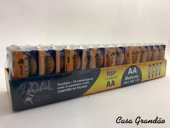 Kit Com 6: Caixas Com 60 Pilhas Goal Aa R6p