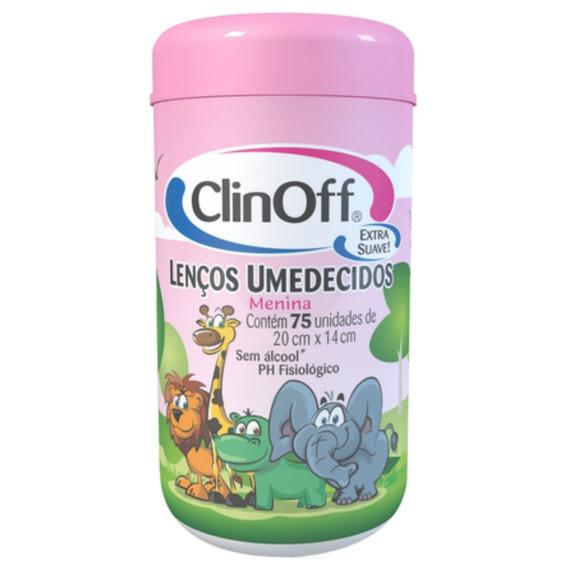 Lenço Umedecido Pote Clin Off C/75 Rosa Unit
