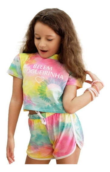 Roupa Infantil Short E Blusa Cropped Moda Tai Day Verão