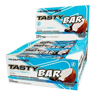 Tasty Bar Cx 12 Unid Adaptogen Importado Whey Protein Bar