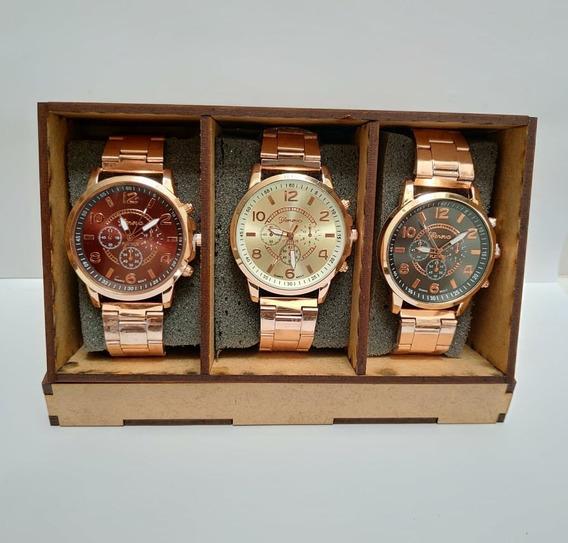 Relógio Feminino Masculino Kit Com 3 Unds Geneva Barato