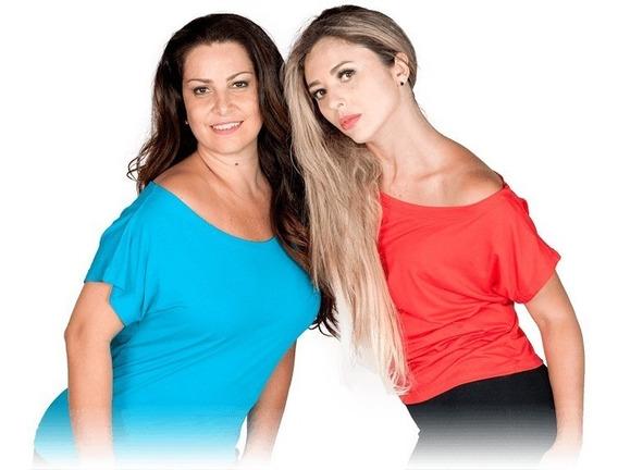Blusa Feminina Ombro Caído Visco-lycra Camiseta Blusinha