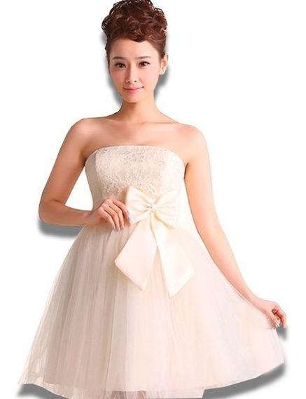 Vestidos Mini Moda Evento Especial Moño Espalda Tipo Dos