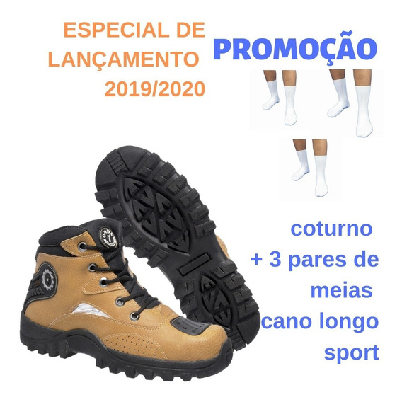Bota Tênis Adventure Masculina Couro Ecológico Cuturno Trilha Mais Kit De 3 Pares De Meias Cano Longo Branca Top Oferta!
