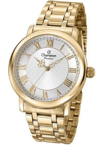 Relógio Feminino Champion Original Dourado Cn29936w Semijoia