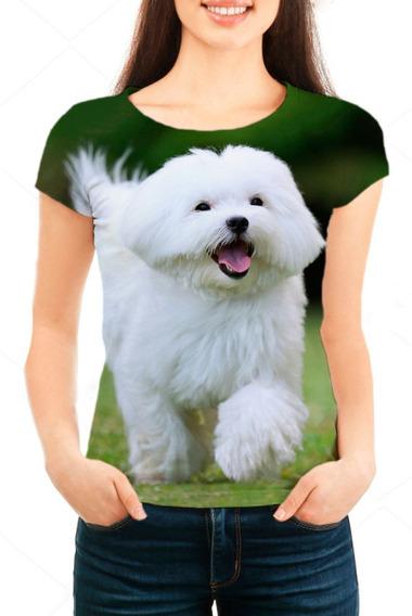 Camiseta Babylook Feminina Cão Maltês - Mn02