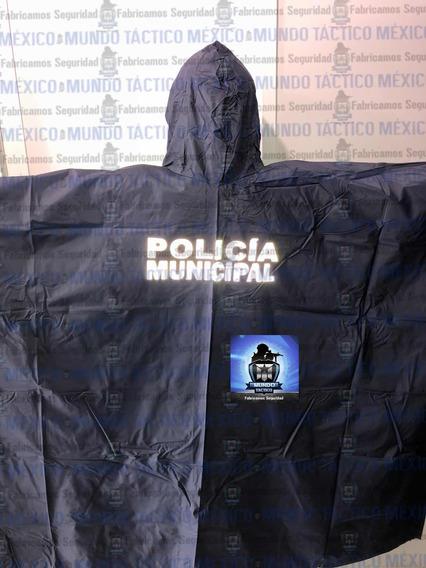 Manga Impermeable Poncho Lluvia Estampada Reflejante Policía