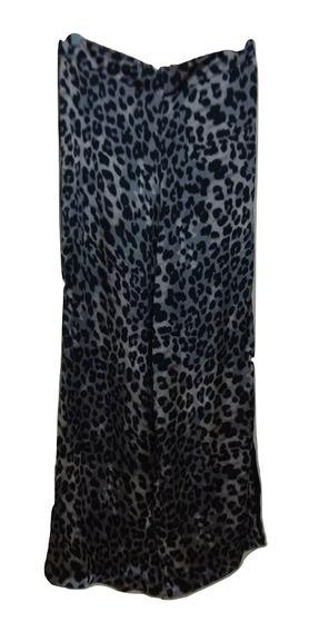 Pantalón Palazo Estampado De Seda Fría Con Banda Lateral