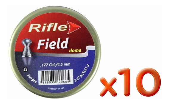 Kit 10 Chumbinho Rifle Field Dome 4.5mm 250un.