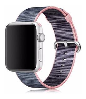 Pulseira Nylon Tecido Para Apple Watch 38/40mm Rosa C/ Azul