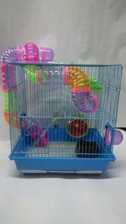 Jaula Hamster Grande Dos Niveles Con Bandeja Recolectora