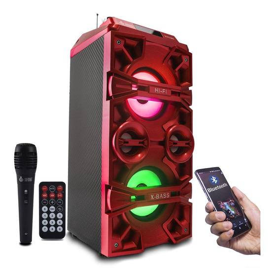 Caixa Som Amplificada Com Microfone Karaokê Bluetooth Fm A11