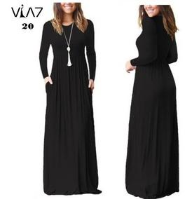 Vestido Largo Manga Larga Con Falda Amplia Para Mujer Nuevo