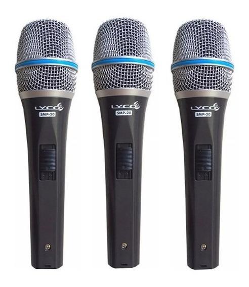 3 Microfones Lyco Smp20 Com Fio Chave Lig/desli+cabo+cachimb
