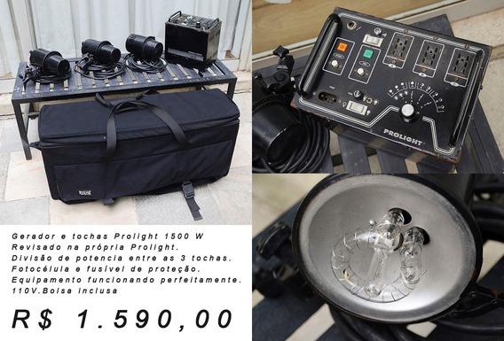 Flash Prolight - Gerador 1500w + 3 Tochas E Bolsa - Revisado