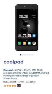 Teléfono Coolpad. Camaras 13mp/8mp, 16gb Alm. Int. Y 3gb Ram