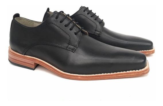 Zapato Cuero Hombre Cordón Base Suela Vestir Promo + Pomada